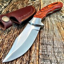 ROSEWOOD CURVED Skinner Hunting Knife Leather Sheath New BOWIE FULL TANG