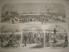 Patin à glace courses sur le cambridgeshire fens 1867 old print ref Y4