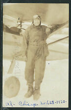 IL Chicago RPPC 1930 AVIATOR AL in LEATHER HELMET & GOGGLES POSES with PLANE