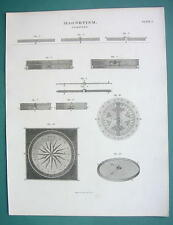 MAGNETISM Compass Dipping Needle - (2) Two 1820 ABRAHAM REES Prints
