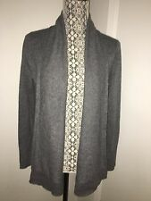 Tahari Pure Luxe Grey 100% Cashmere Open Front Shawl Collar Cardigan M; NWT$228