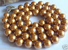 10mm Brown South Sea Shell Pearl Round Gemstone Necklace AAA Grade 18""