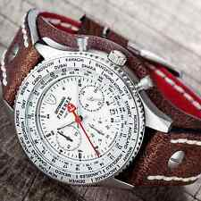 DETOMASO FIRENZE RETRO CHRONOGRAPH MENS WATCH MATTE S-STEEL BROWN CUFF LEATHER