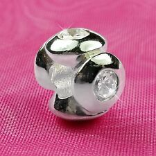 Genuine 925 Solid Sterling Silver Four Stone Charm Bead European Bracelet Fit