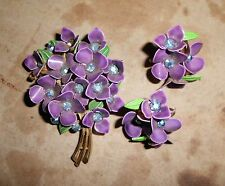 VTG* VIOLET FLOWER NOSEGAY BROOCH PIN; Dark Purple Enamel w Clip-on Earrings