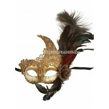 Feather Venetian Masquerade Costume Ball Prom Party Wedding Silver Lace eye Mask
