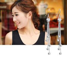 Women Fashion Jewelry 925 Sterling Silver Plated Beads Dangle Hook Earrings New