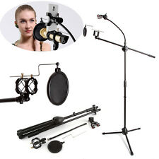 Microphone Suspension Boom Arm Tripod Stand w/ Phone Holder for Studio Broadcast