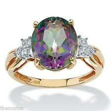 18K GOLD OVER STERLING SILVER FIRE TOPAZ 6 TCW OVAL CUT RING SIZE 6 7 8 9 10