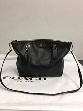 NWT Coach F34494 Leather Large Kelsey Satchel Shoulder Purse Handbag in Black