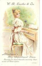 ANTIQUE TRADE CARD LAWFER DEPT./BIG STORE ALLENTOWN, PA PRETTY LADY PIANO