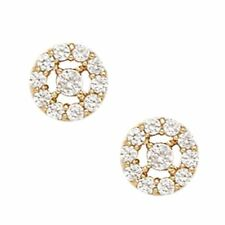 14K Solid Yellow Gold 8MM Cubic Zircon Flower Studs ER-PE28