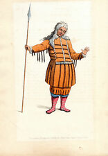 TRADITIONAL RUSSIAN COSTUMES - ORIAK -  HAND-COLOURED COPPERPLATE (1803)