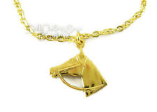 "Gold Horse Head Necklace for 18"" American Girl Doll Clothes Cowboy Accessories"