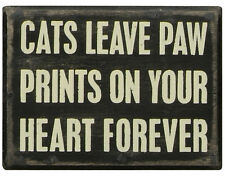 "PBK 4"" x 3"" Wood Wooden BOX SIGN ""Cats Leave Paw Prints On Your Heart Forever"""