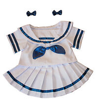 "Sailor Girl w/Bows Dress Outfit Teddy Bear Clothes 14""-18"" Build-A-Bear and More"