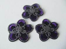 3 x LARGE Sequinned Applique Embellishments: FLOWER  (sew-on/iron-on)