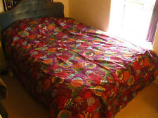 INDIAN KANTHA BEDSPREAD QUILT Purple Flowers TAPESTRY Throw EMBROIDERY DOUBLE