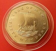 IOM MANX ISLE OF MAN 50 NEW PENCE VIKING SHIP 1st Des BU 1971 COIN IN PROT CAPS