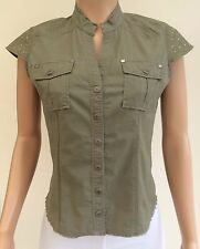 River Island Khaki Green Shirt Embroidered Dragon Back with Studs Size 12 JT53