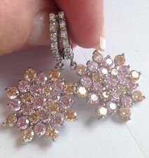 Awesome Morganite Pink Topaz   White Topaz Leverback   Earrings 925 silver
