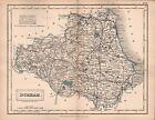 1860 HALL COUNTY MAP RAILWAYS - DURHAM, YARM, WALSINGHAM, DURHAM, STH SHIELDS