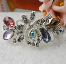 Simple 60MM crystal Rhinestone Flower hair barrette clip Hairpin  SF100