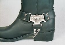 NEW Biker Western Boot Chains Black Leather Straps Eagle (price per pair)!!