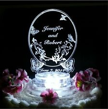 Butterfly Oval Lighted Wedding Cake Topper Acrylic Top Personalized Custom