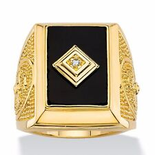14K GOLD BLACK ONYX EMERALD CUT CROSS MENS GP RING SIZE 8 9 10 11 12 13