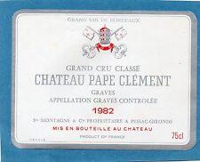 GRAVES GCC VIEILLE ETIQUETTE CHATEAU PAPE CLEMENT 1982 75 CL  RARE §11/10/16§