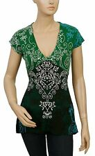 122482 New Desigual  Short Sleeve Green V neck Rubber Print Cotton Blouse Top S