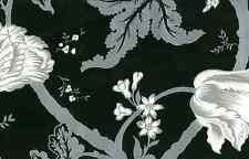 Wallpaper Van Luit Matte Black Floral Silver White SW105766 DOUBLE ROLLS