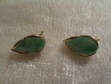 Genuine 14K Gold green jade earrings
