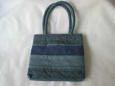 Ladies Handmade Cotton Bag from India – Mauve & Aqua Wide Stripes with Stitching
