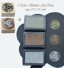 lot of 3 metallic Stamp ink pads gold, siver and copper color ,plus free 1 stamp