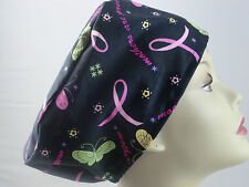 WOMENS SURGICAL_SCRUB HAT_CAP_pink ribbons_butterflies_black_flowers