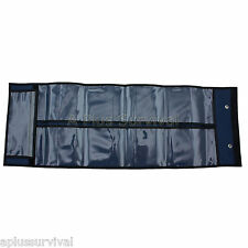 Blue Fold & Roll up Sleeve 15 Clear Pockets - Survival First Aid Kit Organizer