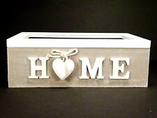 Wooden HOME Trinket Storage Tea Box Shabby Chic With 6 Removable Compartments