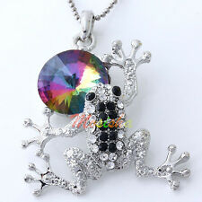 Silver Plated Colorful Crystal Rhinestone Frog Charms Bead Pendant fit Necklace