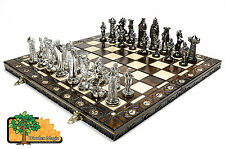 MEDIEVAL SILVER - Large 42cm / 16.5in Artistic Chrome Plastic Chess Set