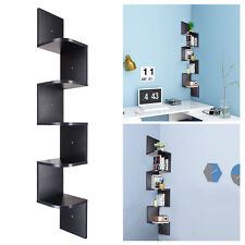 5 Tier Black Wall Mount Corner Shelf Floating Shelves Display Wood Storage Unit