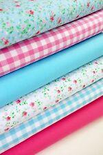 Fabric bundles Fat Quarters Polycotton Material Florals Gingham Spots Craft