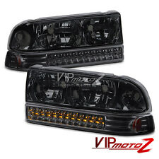 98-04 Chevrolet S10 Blazer Smoke Headlights LED SMD DRL Bumper Signal Lamps PAIR