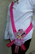 1 Baby Shower ~MOM TO BE SASH with Minnie Mouse~ Pink/Girl, Ribbon. favor, party
