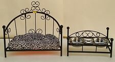 Custom-made Wrought Iron Dog/Cat Pet Bed & Feeder