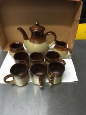 Vintage Clay Pottery Coffee/Tea Pot With 4 Cups, Sugar Dish, Creamer