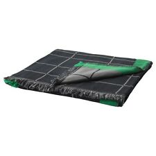 Ikea Anvandbar Throw - black with green and grey detailing - 100% cotton