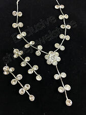 Designer Silver Plated Diamond Stone Kundan Necklace Earring Fashion Jewelry Set