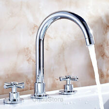 Chrome Widespread Bathroom Basin Faucet Double Handle Vanity Sink Mixer Tap A215
